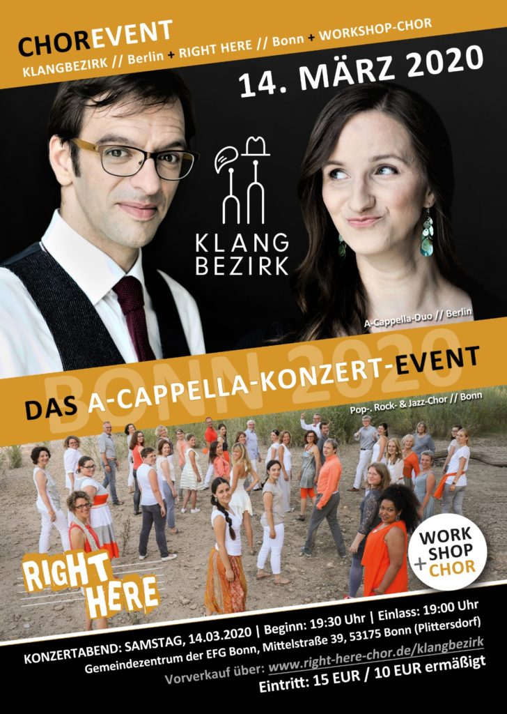 A-cappella-Event: Klangbezirk + Right Here + Workshopchor